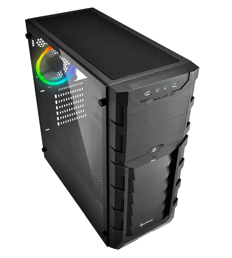 """ПК-корпус Sharkoon Skiller SGC1 RGB получил панель из закалённого стекла"""""""