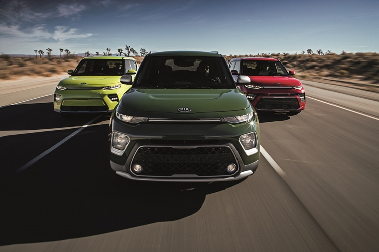 KIA Electric Soul (Yellow), X-Line (Green) and GT-Line (Red) Version