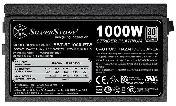 SilverStone представила укороченные блоки питания Strider Platinum на 1000 и 1200 Вт