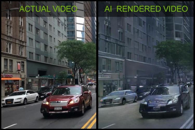 Реальное видео (слева) и сгенерированная алгоритмом NVIDIA картинка
