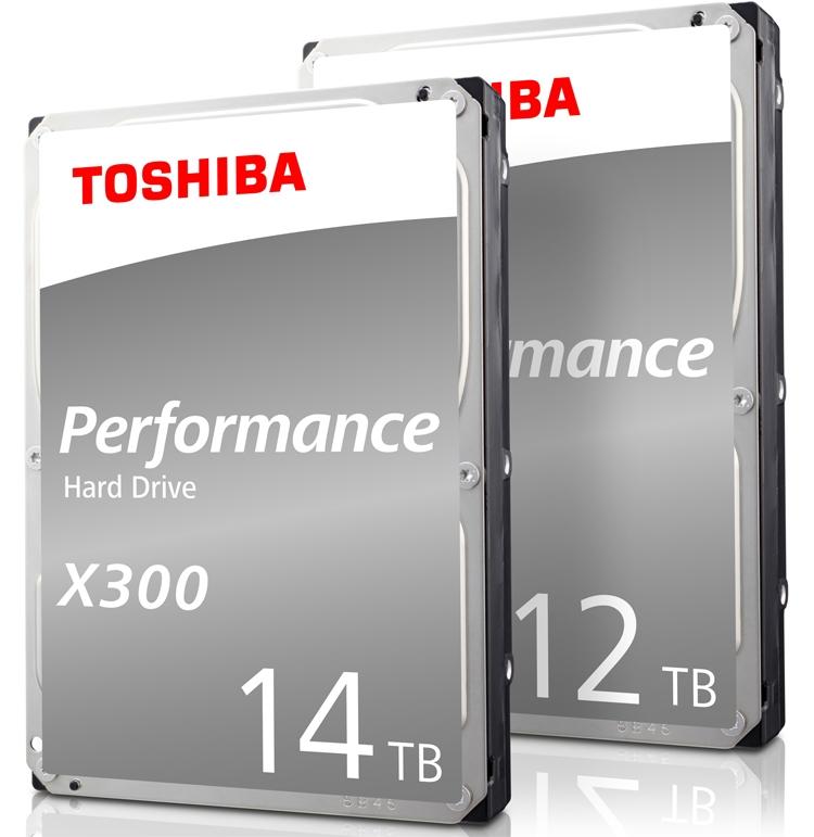 Вместимость жёстких дисков Toshiba N300 и X300 достигла 14 Тбайт