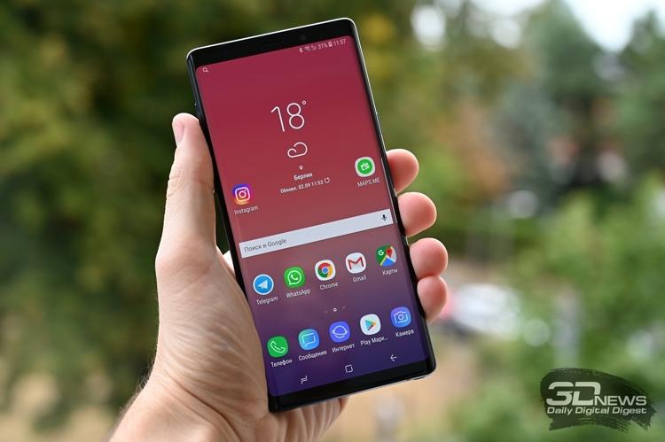"""Российский рейтинг лучших смартфонов 2018 года возглавил фаблет Galaxy Note 9"""""""