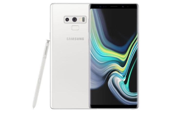 Белый фаблет Samsung Galaxy Note 9 с изогнутым OLED