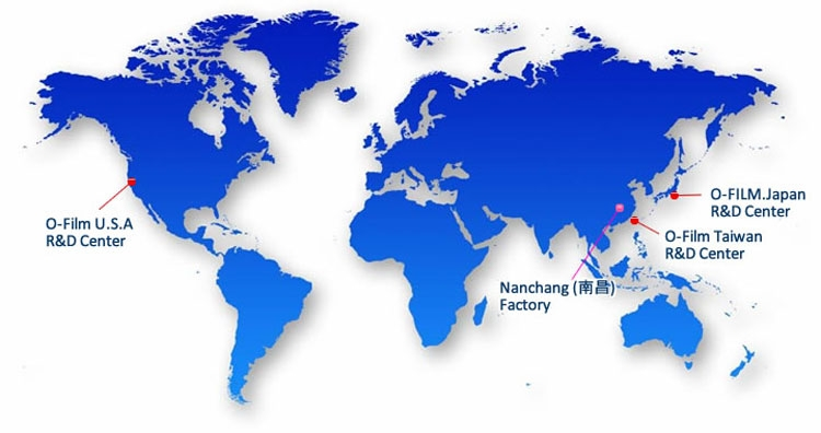География присутствия компании O-film Tech на карте мира