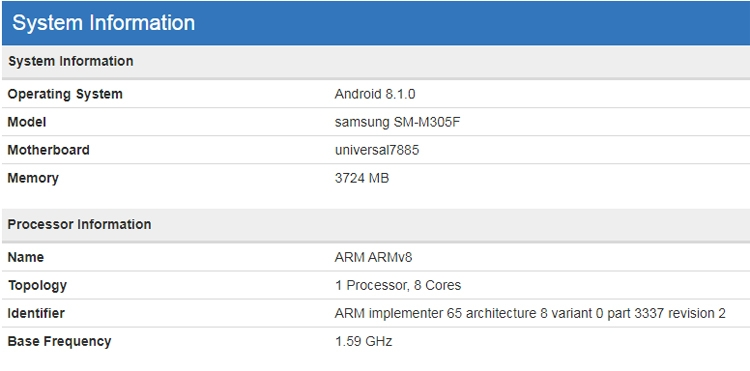 """Неанонсированный смартфон Samsung Galaxy M30 показался в бенчмарке"""""""
