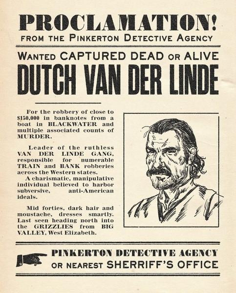 Объявление о розыске Датча ван дер Линде (Dutch van der Linde) от агентства Пинкертона