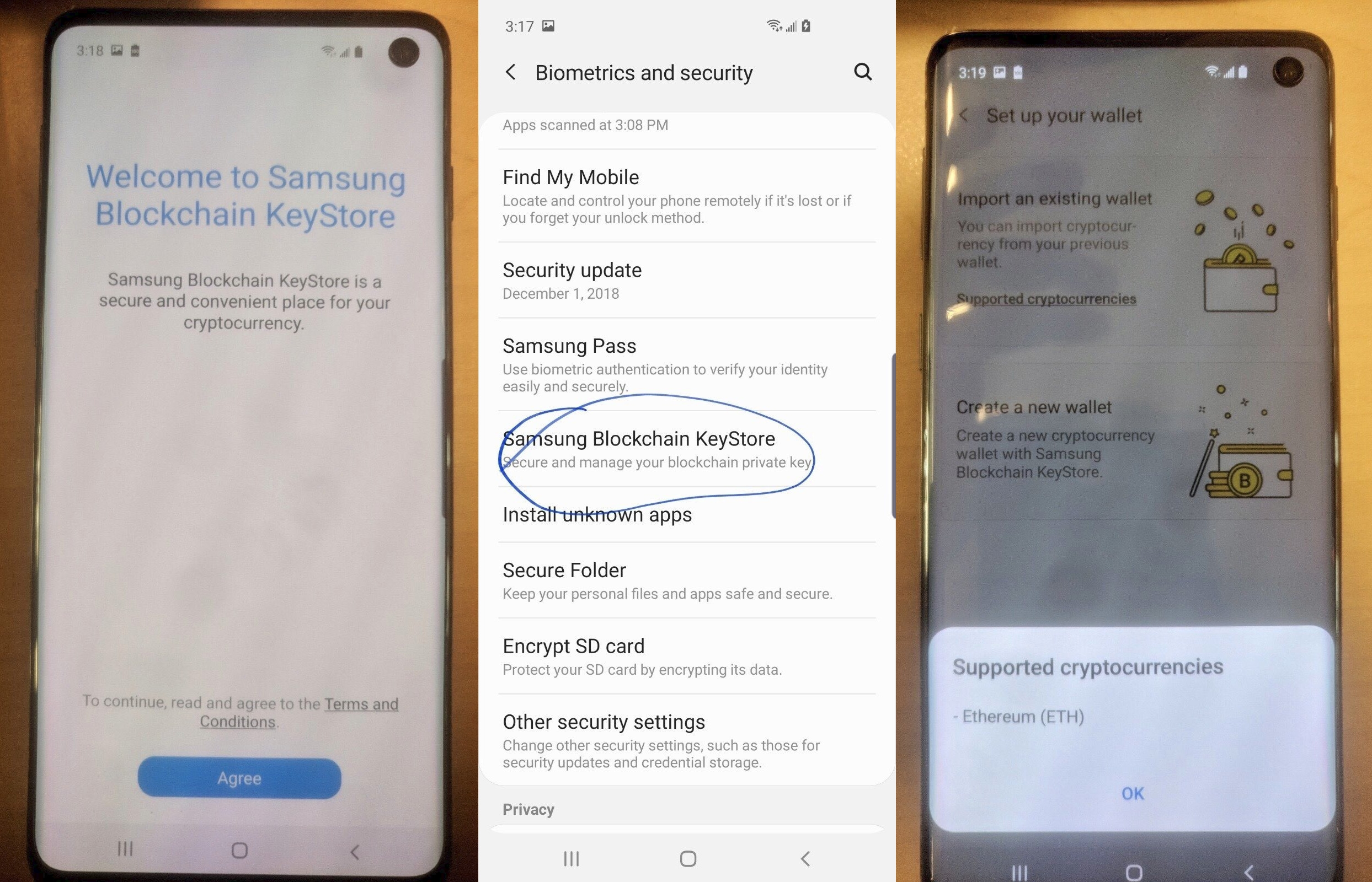 Самсунг Galaxy S10 будет cBitcoin-кошельком?