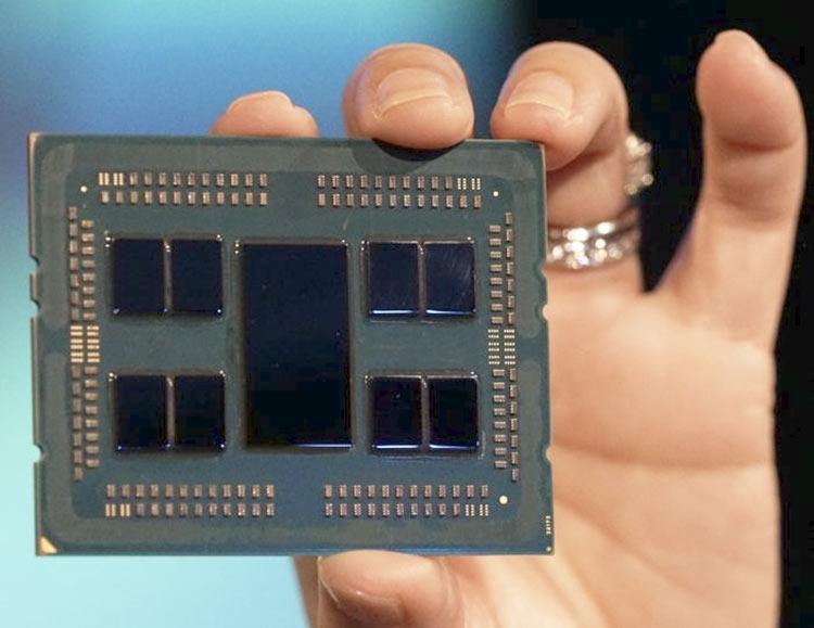 EPYC Rome состоит из восьми 7-нм 8-ядерных чипов («чиплетов») с архитектурой Zen 2, которые объединены 14-нм контроллером ввода-вывода (модуль I/O)