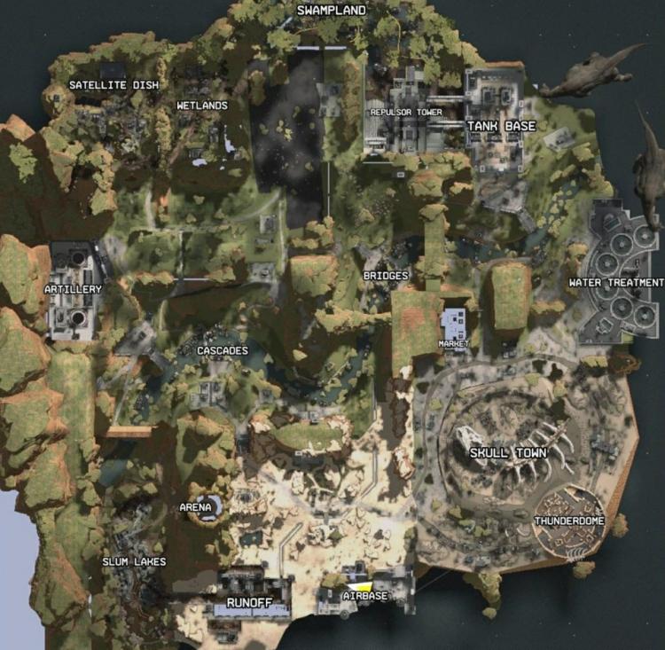 Названия основных районов острова в Apex Legends