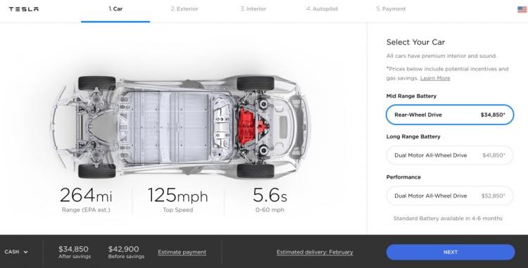 "Tesla снизила цену на все версии электромобиля Model 3"""
