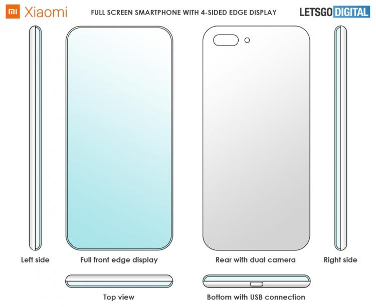 Xiaomi обошла Samsung, загнув все 4 стороны экрана, но лишь в патенте