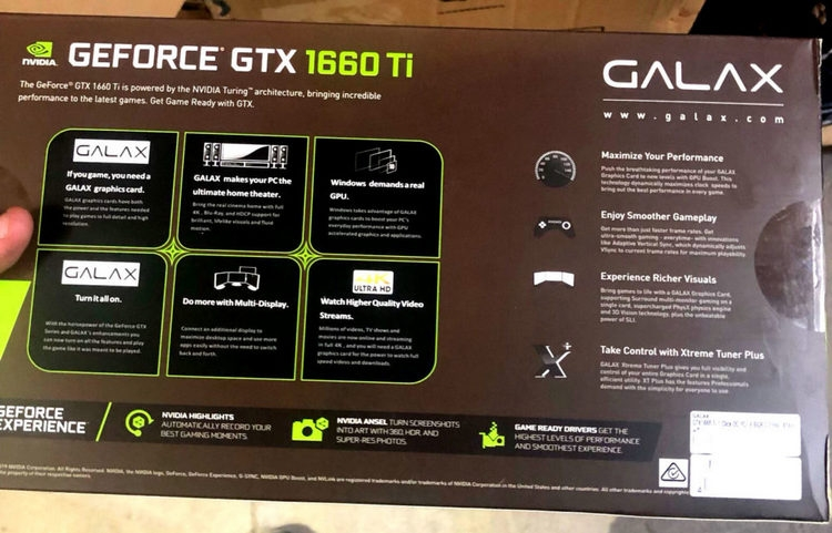 "Опубликованы фотографии упаковки Galax GeForce GTX 1660 Ti"""