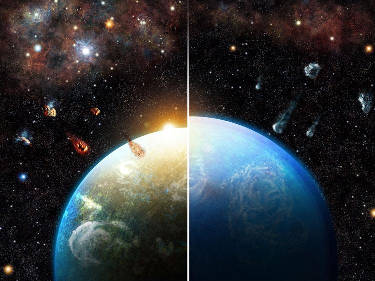 Слева планета формируется «высушенными» камнями - земного типа, справа с обилием льда - планета-океан (Thibaut Roger)