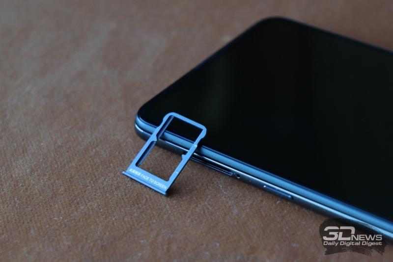 Xiaomi Mi MIX 3, слот для двух карточек стандарта nano-SIM