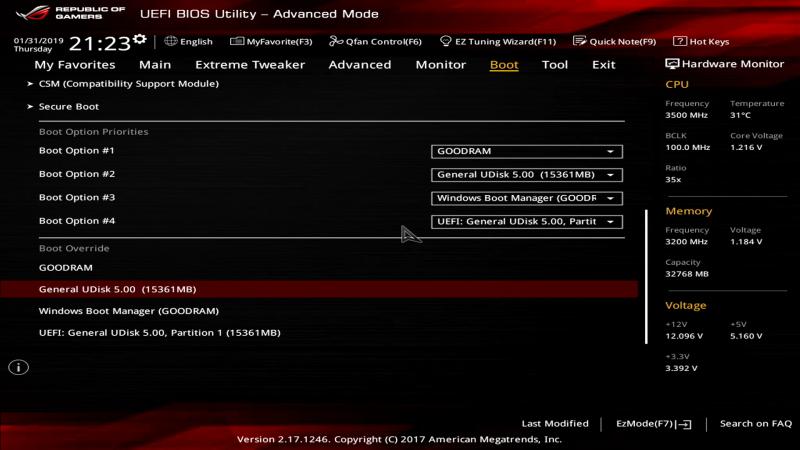 CSM-режим: доступны и загрузчики, и собственно диски/разделы