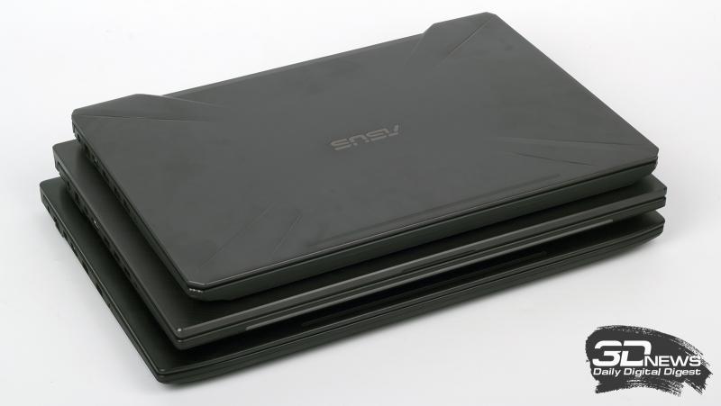 Нижний ноутбук — «семнашка» ASUS GL703GE старого образца; верхний — бюджетный 15-дюймовый вариант ASUS FX504G; посередине — герой сегодняшнего обзора