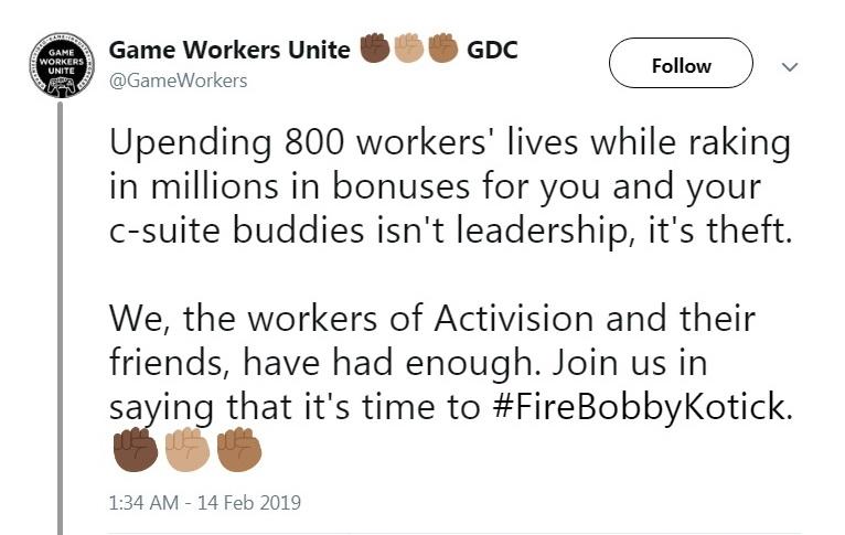 "«Это не руководство, это воровство»: Game Workers Unite требует уволить главу Activision Blizzard"""