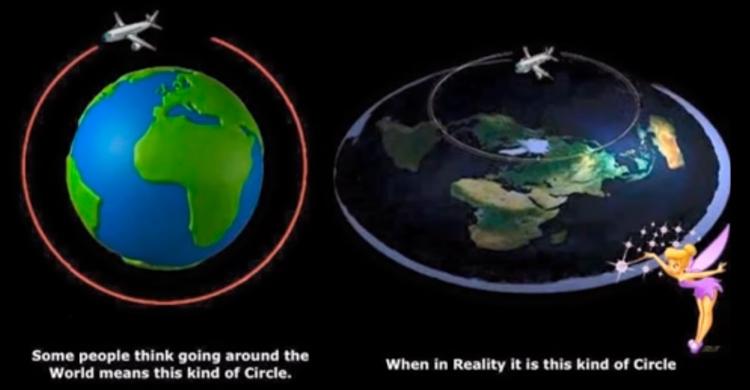 Кадр из видеоролика на YouTube, предоставляющего «доказательства» того, что Земля не является шаром