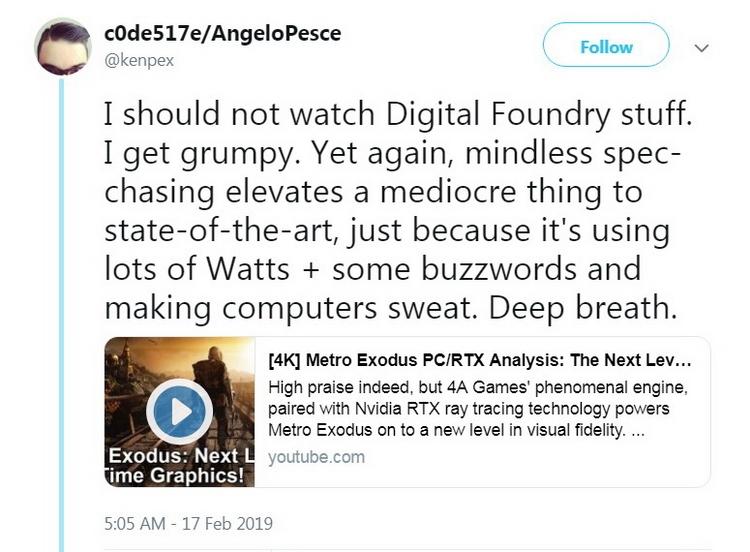 """«Заурядная, а называют ультрасовременной»: техдиректор Activision не в восторге от графики Metro Exodus"""""""