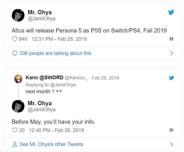 """Слухи: расширенная версия Persona 5 выйдет на PS4 и Nintendo Switch осенью"""""""