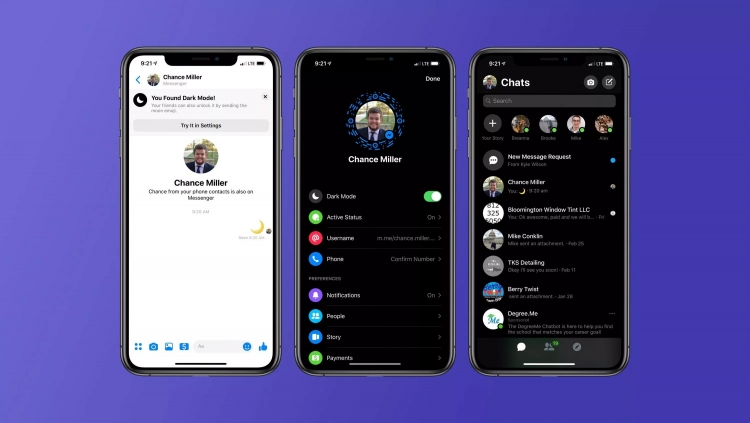 В Facebook Messenger на iOS появился тестовый тёмный режим