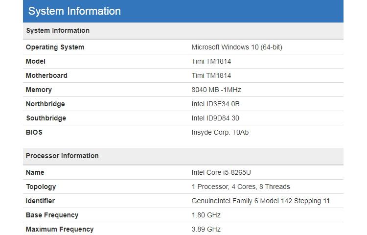 "Ноутбук Xiaomi на платформе Intel Whiskey Lake показался в бенчмарке"""