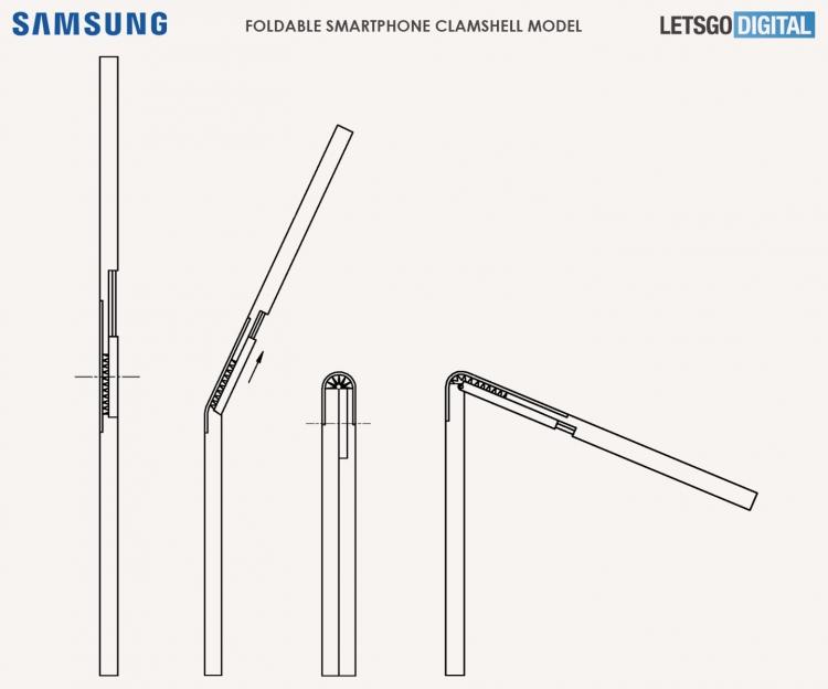 """Патент Samsung: компактная «раскладушка» с гибким экраном наружу и сложной петлёй"""""""