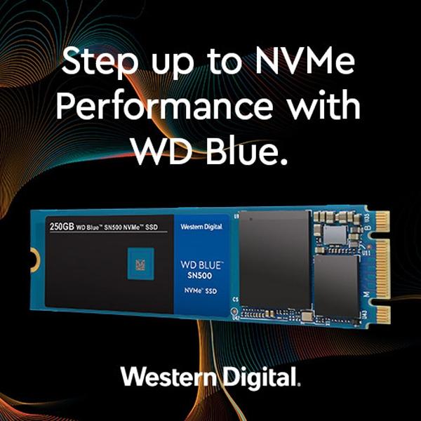 """WD Blue SN500 NVMe SSD: доступные накопители ёмкостью 250 и 500 Гбайт"""""""