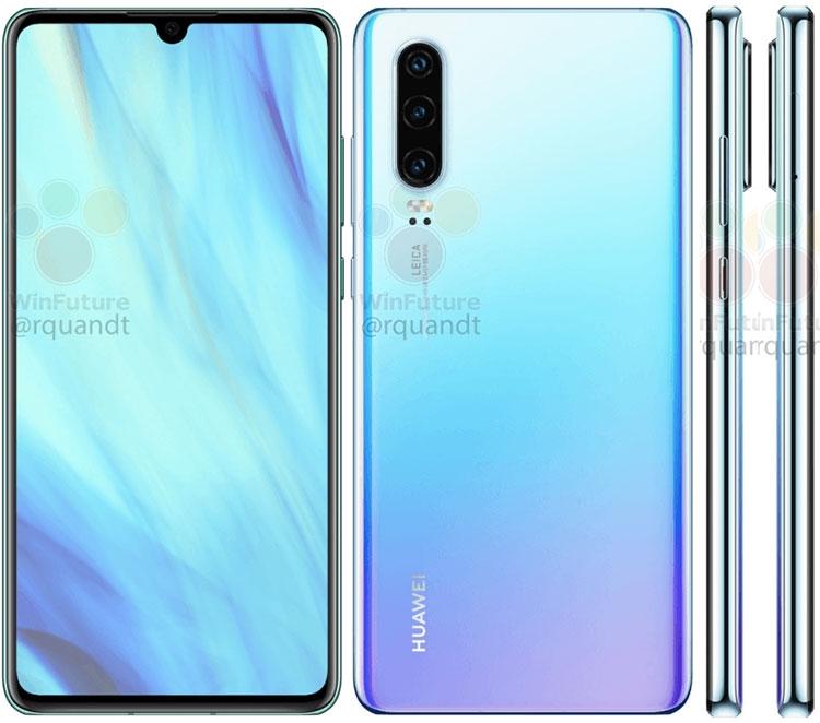"Утечка изображений и характеристик Huawei P30 и P30 Pro"""