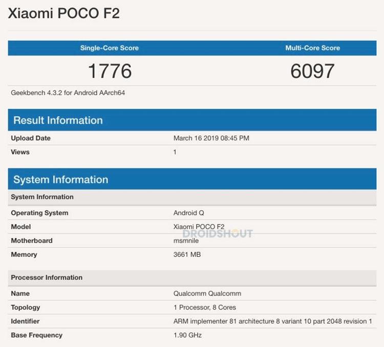 """Результаты тестов Pocophone F2 указывают на Snapdragon 855 и Android Q"""""""