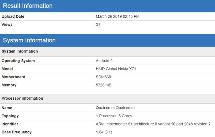 """Смартфон Nokia X71 «засветился» в бенчмарке с процессором Snapdragon 660"""""""