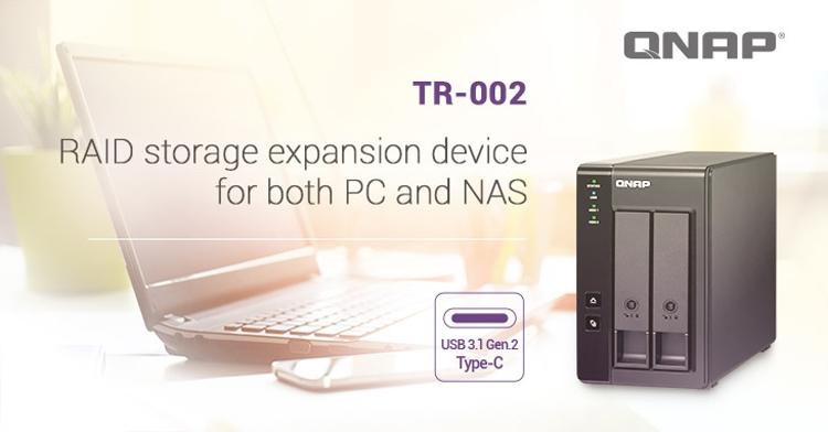 """QNAP TR-002: корпус для внешнего хранилища данных с портом USB 3.1 Gen.2 Type-C"""""""