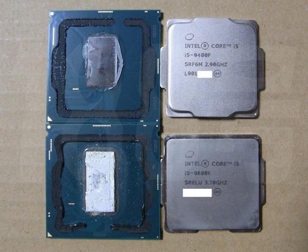 Core i5-9400F и Core i5-9600K без крышки. Фото momomo_us