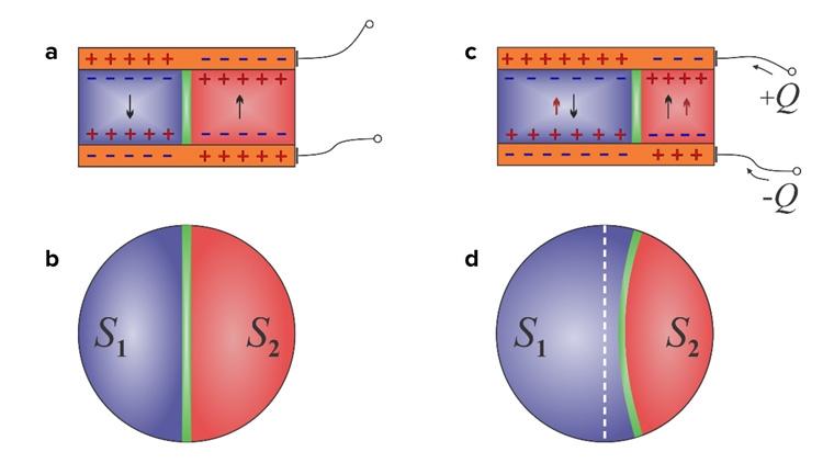 Смещение доменой стены - зоны разделения полярности - под воздействием внешнего управляющего напряжения (Argonne National Laboratory)