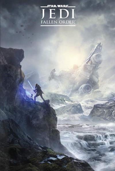 """На первом плакате Star Wars Jedi: Fallen Order изображён джедай и дроид на заснеженной планете"""""""