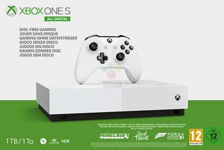 "Xbox One S All Digital: Microsoft готовит консоль без привода Blu-ray"""