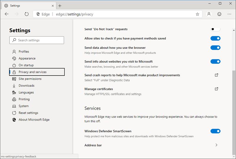 В браузер встроена система защиты от вредоносного контента Windows Defender SmartScreen, такая же имеется и в классическом Microsoft Edge