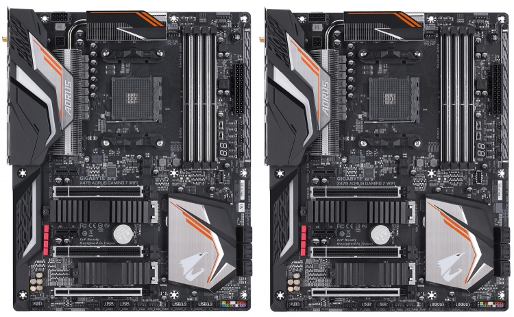 Слева — X470 Aorus Gaming 7 WiFi-50, справа — X470 Aorus Gaming 7 WiFi