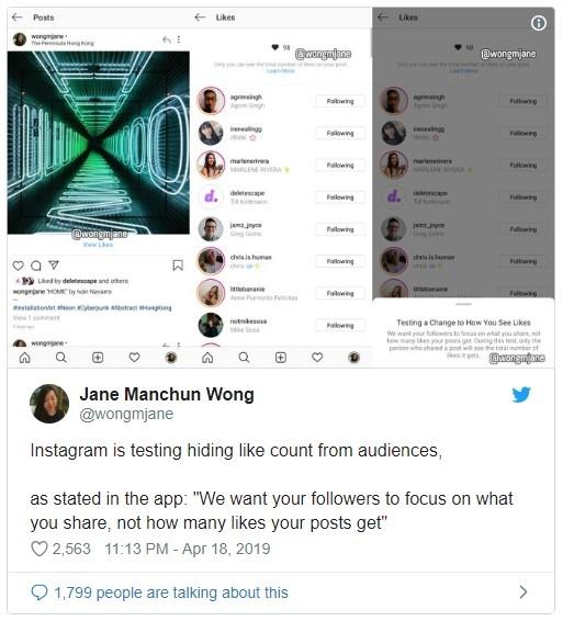 """Instagram тестирует сокрытие«лайков» под фото"""""""