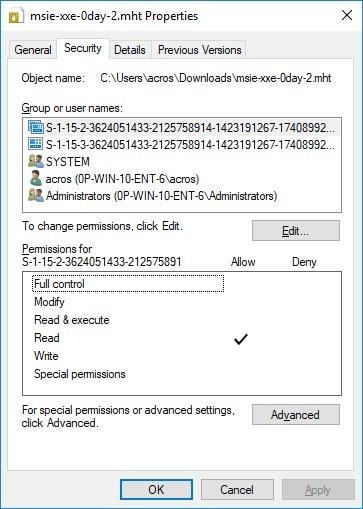 Две первые строки в правах доступа Edge добавил к скаченному MHT файлу. Первая строчка виновна в сбое системы безопасности Internet Explorer