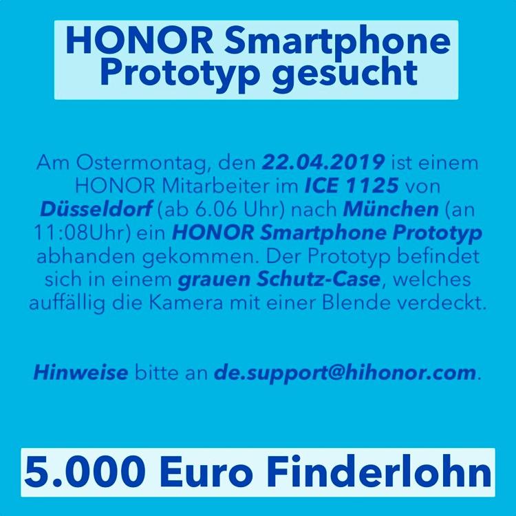 """Honor потеряла прототип смартфона и готова заплатить за его находку €5000"""""""