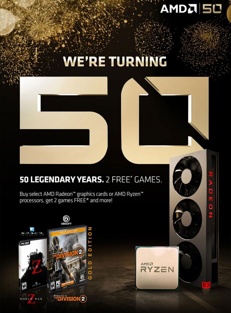"""Юбилейный AMD Ryzen 7 2700X поставляется с двумя играми и футболкой"""""""