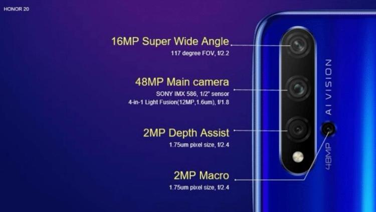 """Раскрыта конфигурация многомодульной камеры смартфонов Honor 20"""""""