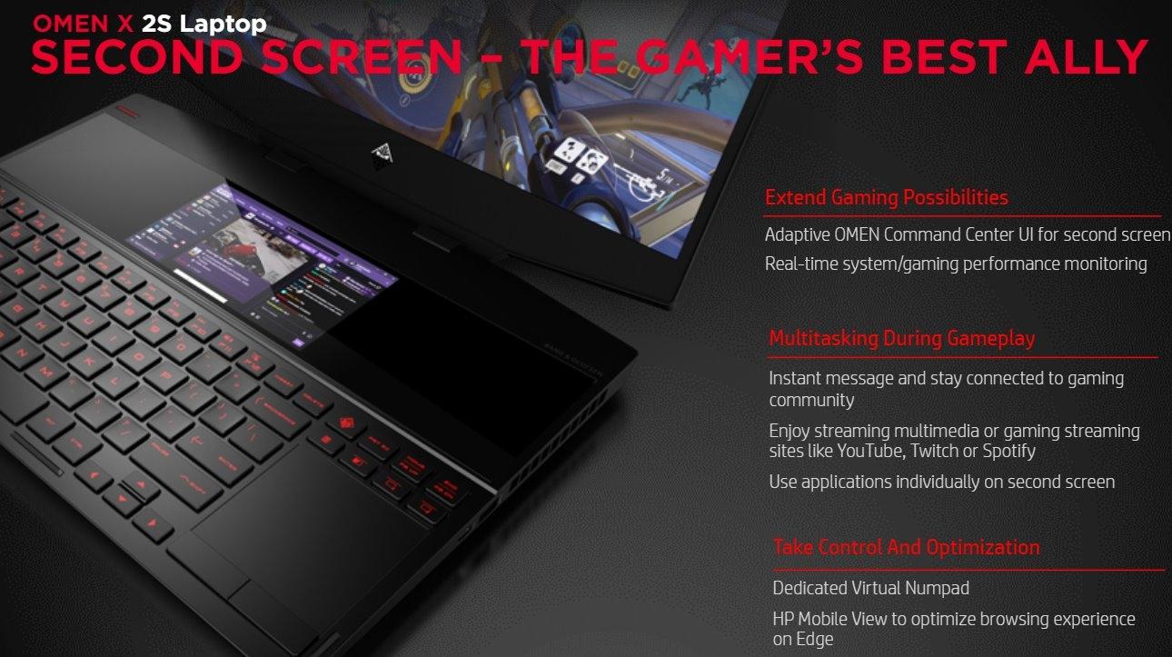 HP Omen X 2S: игровой ноутбук с дополнительным экраном и «жидким