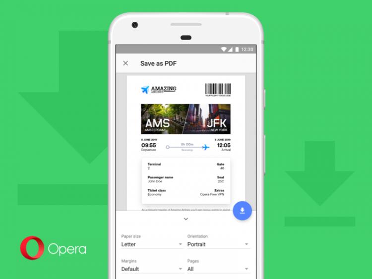 """В Opera 52 дляAndroid появилась возможность сохранения веб-страниц в PDF"""""""