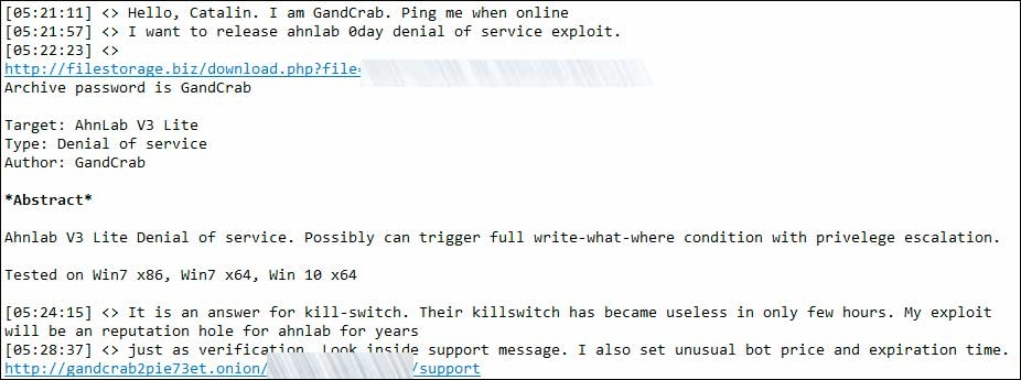 Создатели GandCrab выпустили уязвимость нулевого для антивируса AhnLab Lite в ответ на публикацию лабораторией заплатки, которая защищала от вымогателя