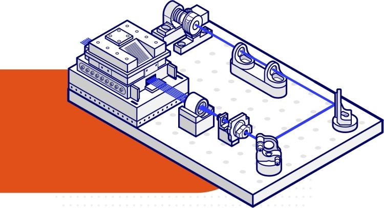Точные лазеры хранят информацию о наших атомных кубитах, выполняют логические операции и соединяют их вместе в квантовом процессе, называемом запутанностью. Система IonQ без фиксированных проводов может соединять любые два кубита с помощью одной лазерной операции, что повышает точность.