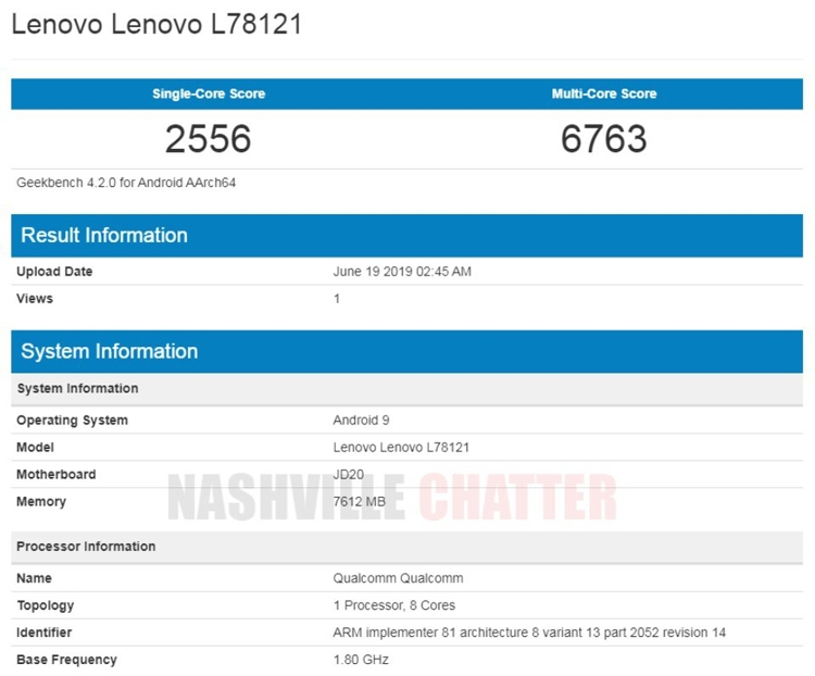 """Смартфон Lenovo Z6 «засветился» в Geekbench с 8 Гбайт ОЗУ"""""""