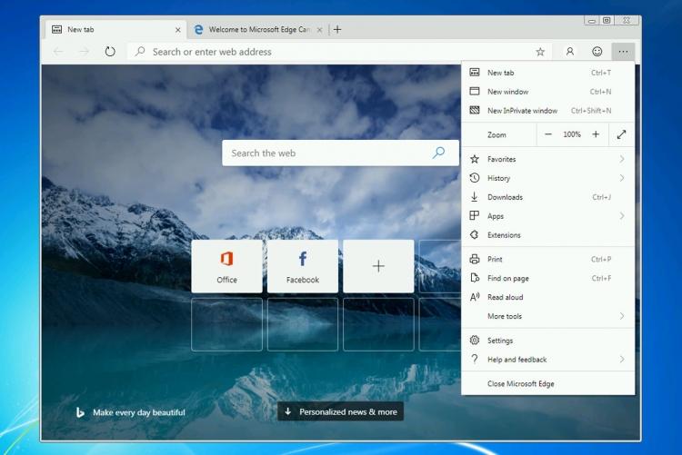 "Новый Microsoft Edge доступен для Windows 7"""