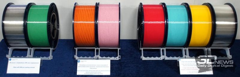Образцы продукции: обычные, окрашенные и тонкие волокна